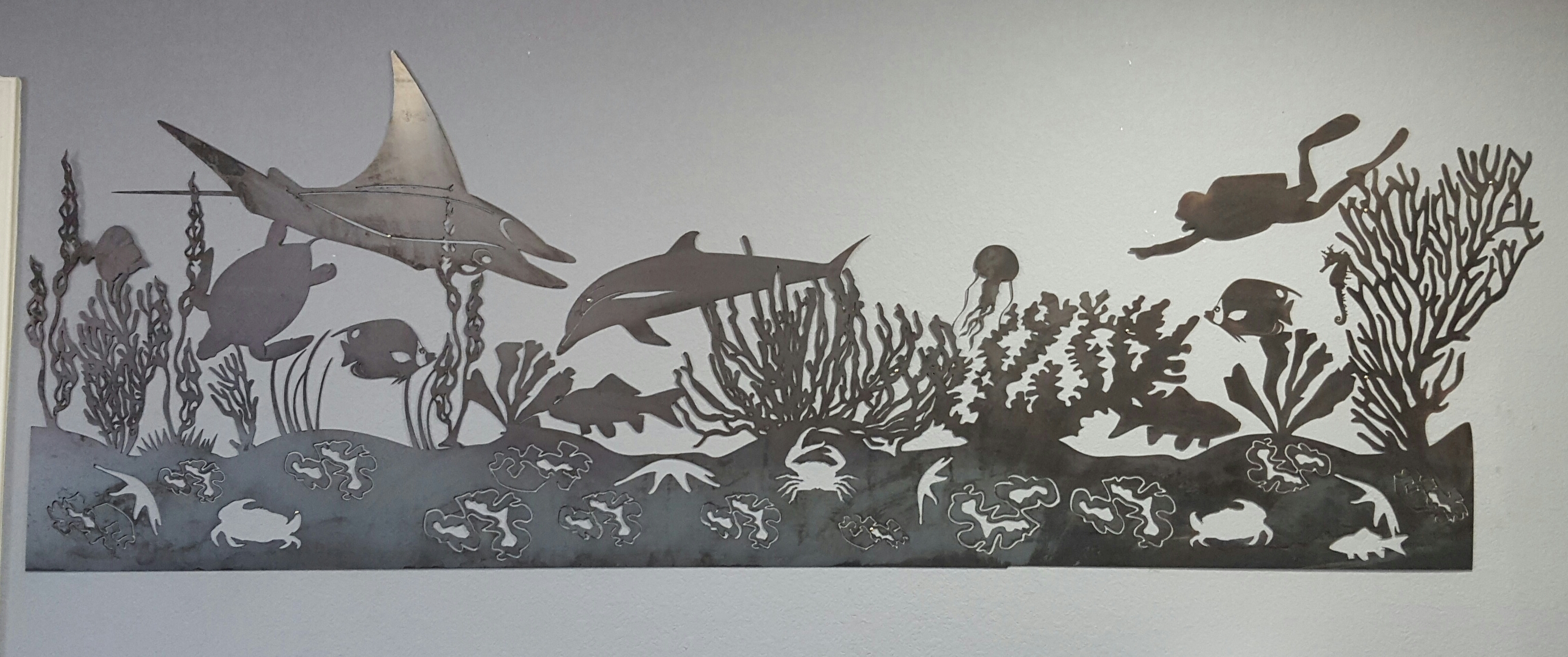 White Metal Art Sea Life Mural Metal Wall Art  Blue Collar Welding Llc